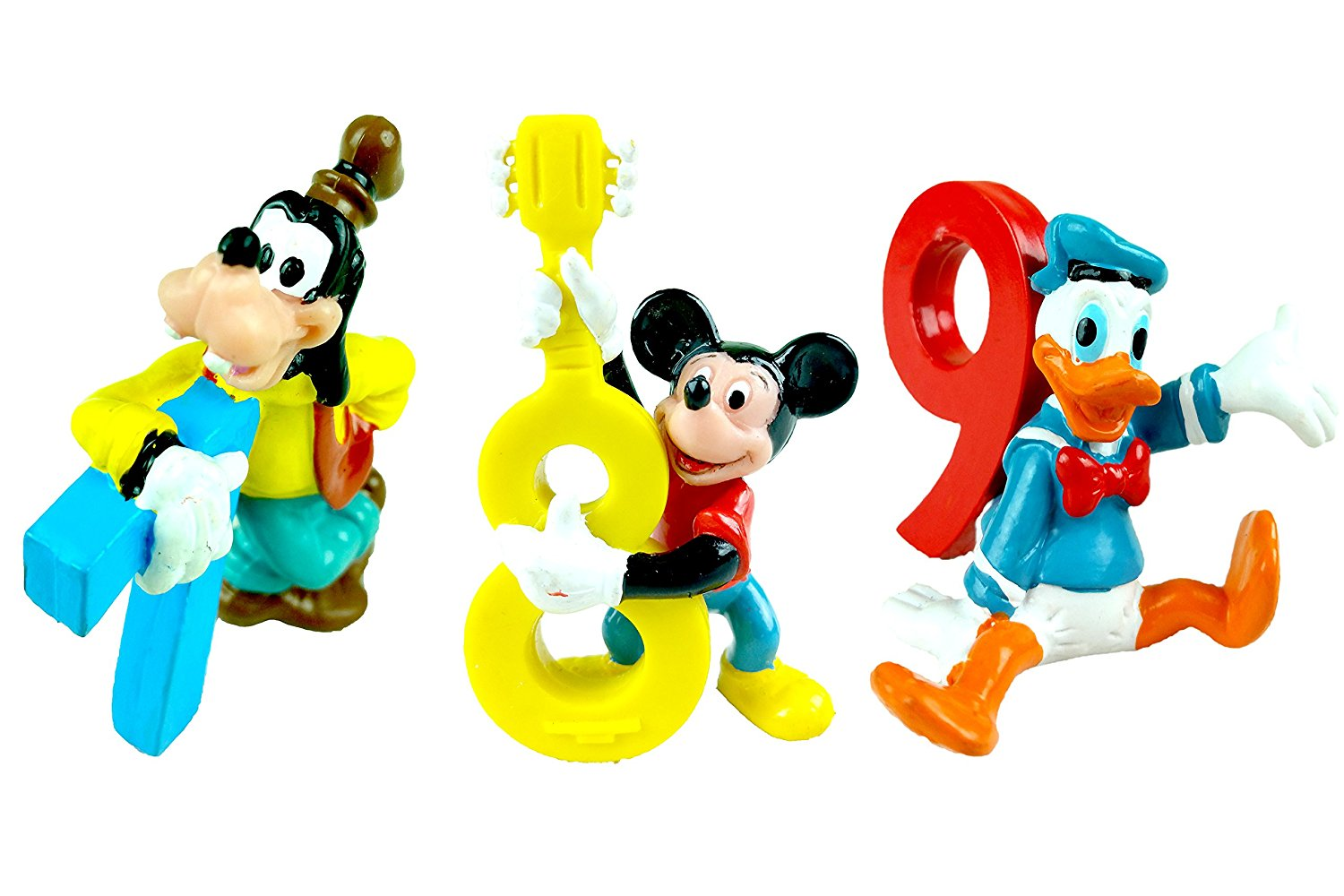 """Disney Pluto # """"7"""", Mickey # """"8"""" and Donald Duck # """"9"""" Cake Toppers Pack (3 Pcs)"""
