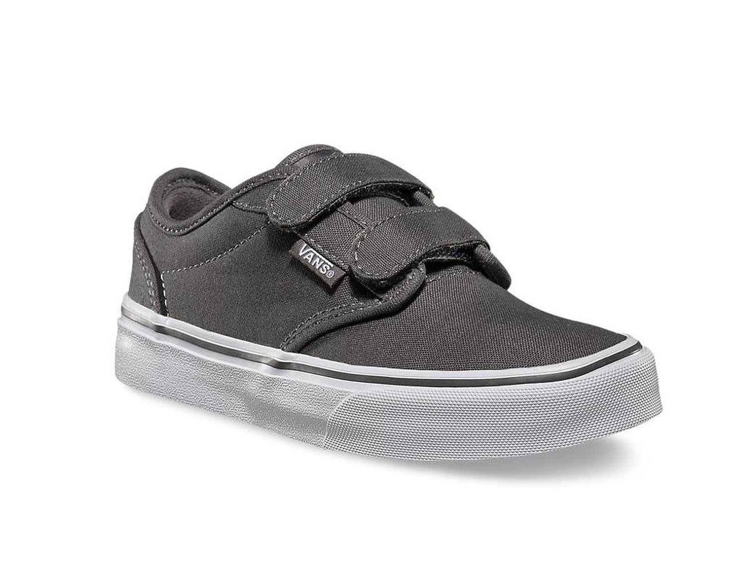 186c34a4dbcc Get Quotations · Vans Atwood Velcro Pewter Skate Sneakers Kids youth s Shoes  0RQY4WV