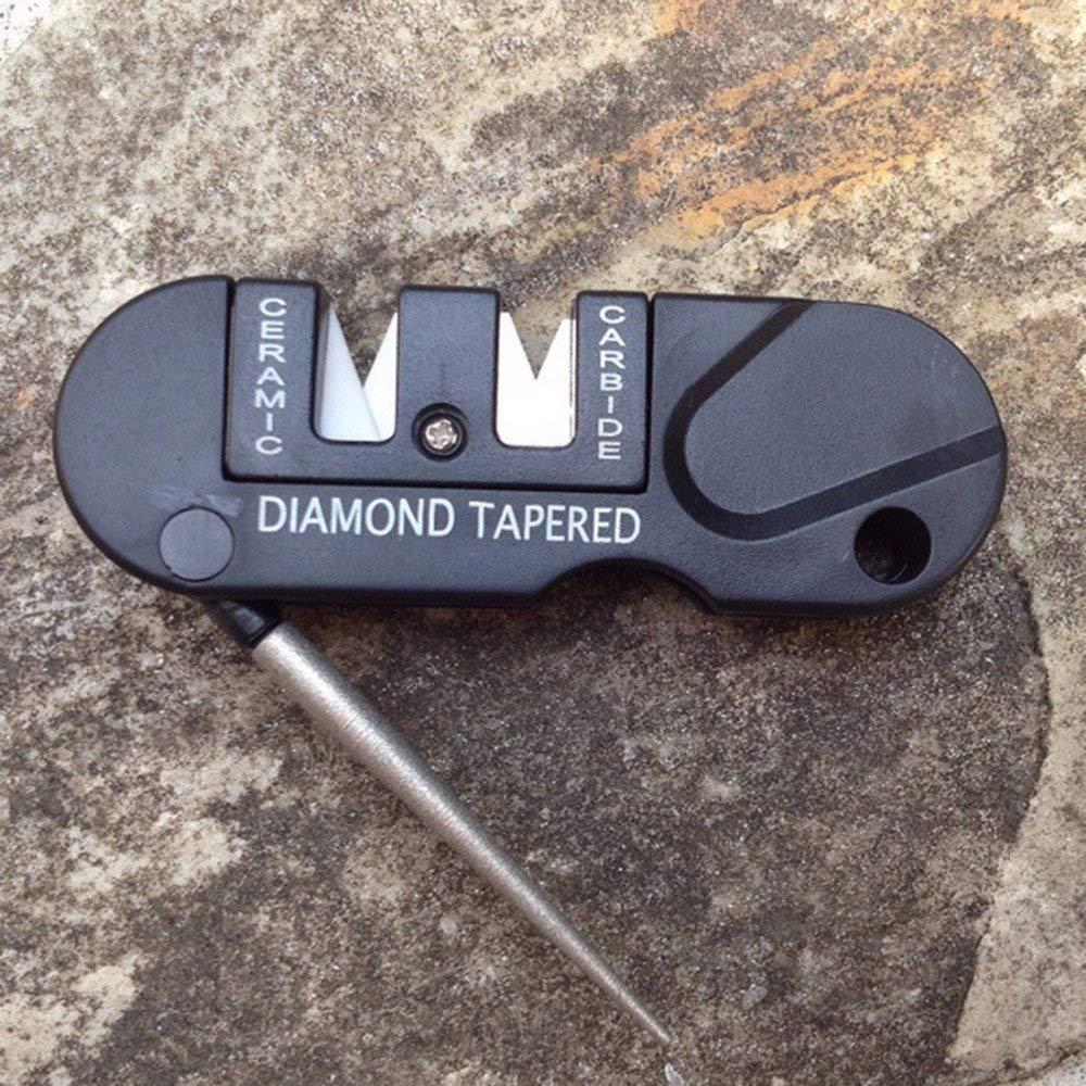 Topsame Three Stages Ceramic Carbide Diamond Knife Sharpener Pocket Outdoor EDC Tool Fish Hook Professional Sharpening Stone