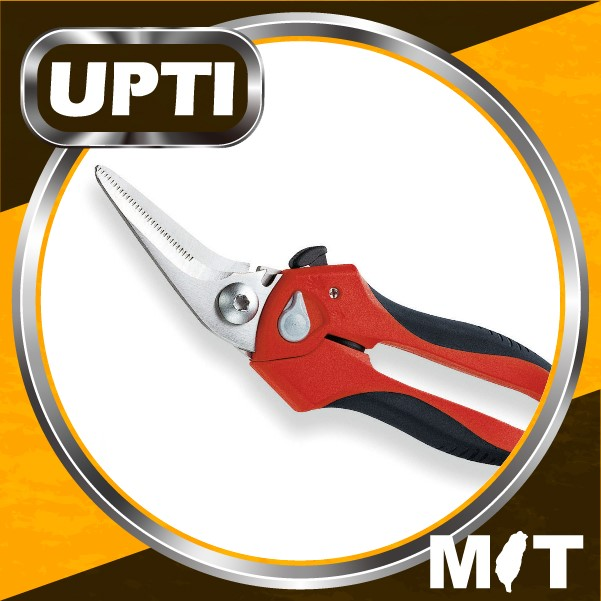 "Taiwan Made High Quality 8""Multi-Purpose Heavy Duty Garden Shears - Angled With Wire Cutting Notch"