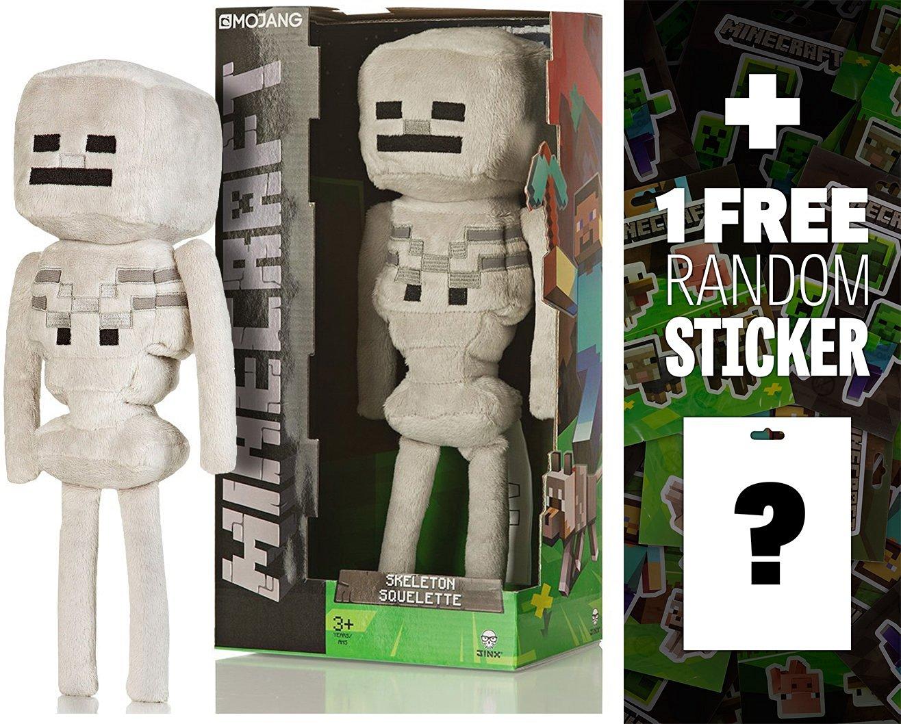 "Skeleton Squelette: ~12"" (~9"" Sitting) Jinx Minecraft Plush Series + 1 FREE Official Minecraft Mini-Sticker Sheet Bundle"