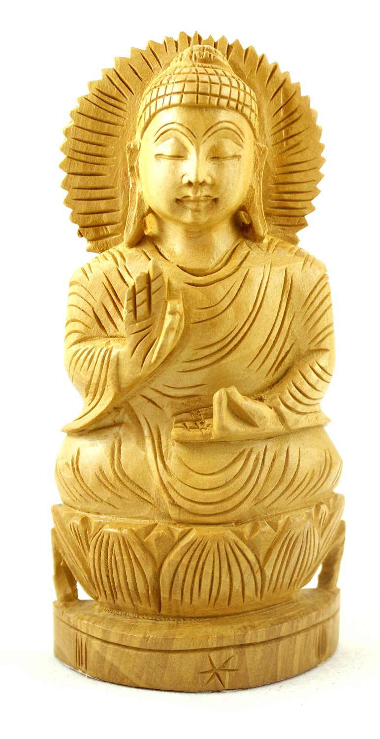 """Krishna Mart India Hand Carved Lord Buddha Wooden Meditating Ethnic Wood Statue Size 6"""" By 2.8"""" Inches"""