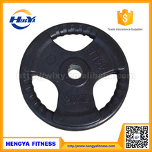 Wholesale Black Three Holes Rubber Coated Cast Iron Barbell Weight Plate