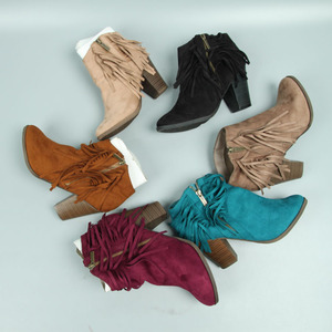 Hot sale ladies fancy colorful pointed toe tassel heel ankle heel booties shoes