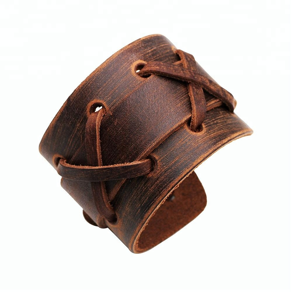 New Arrival Genuine Leather Bracelet Wristband Mens Wide Cuff With Snap On For Men Women Jewelry Fashion