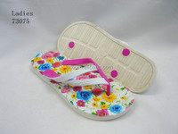 Lady's rainbow color dotted strap PE flip flop