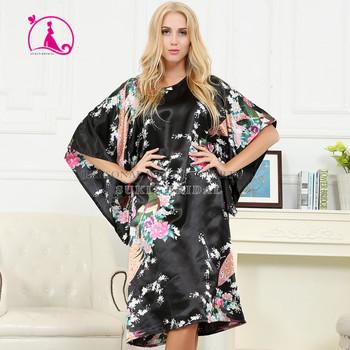 041151f9cd Wanita sutra satin piyama lingerie pakaian tidur kimono gaun baju tidur  jubah panjang hitam