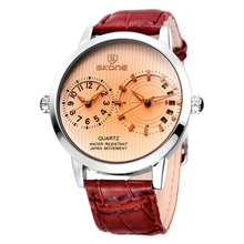 Description of wrist watch double japan quartz movement mens leather watches