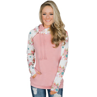 Floral Splice Pink Striped Drawstring Cheap Pullover Hoodie for Women