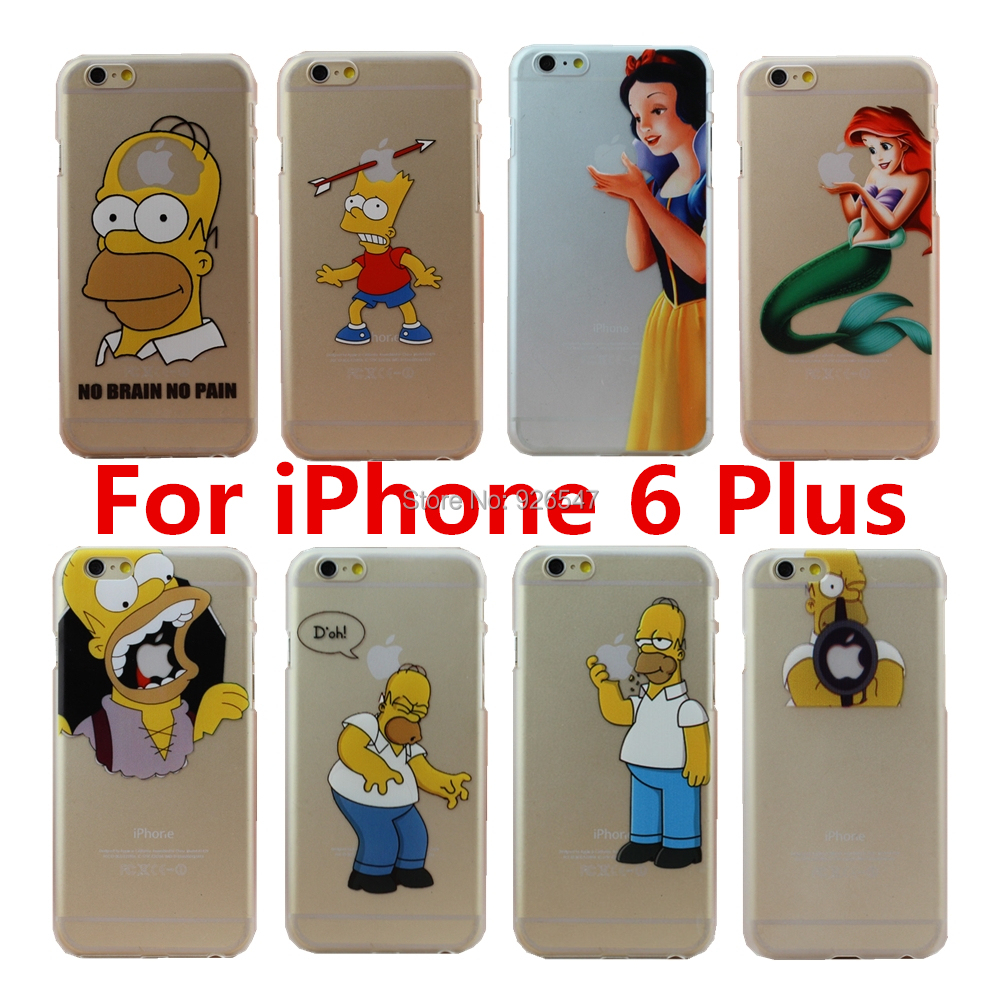 online store 86cbc 0083b 2015 New Arrive For Apple iphone 6 Plus case 5.5inch Transparent Simpson  Snow White Hand grasp the logo cell phone cases covers