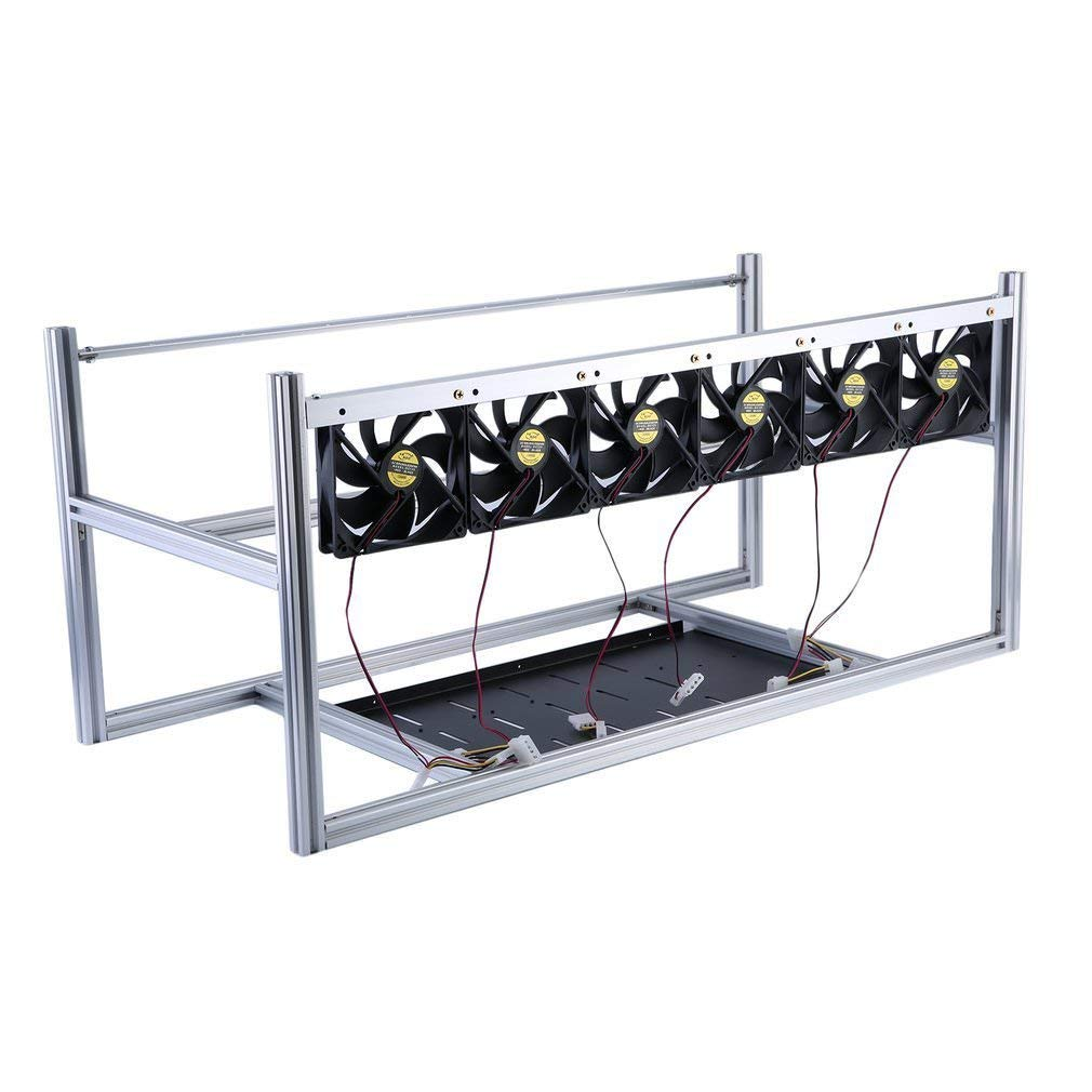 Professional 8 GPU Stackable Aluminum Mining Frame Rig Case Open Air Frame with 6 Fans