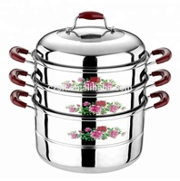 3 Layer Flower Prints Multi Cooker Seafood Stainless Steel Steamer Set With Lid