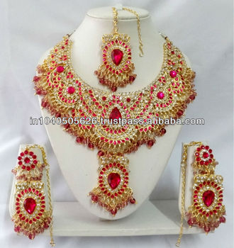 T9007 Rani Hot Pink Indian Bollywood Style Kundan Diamante
