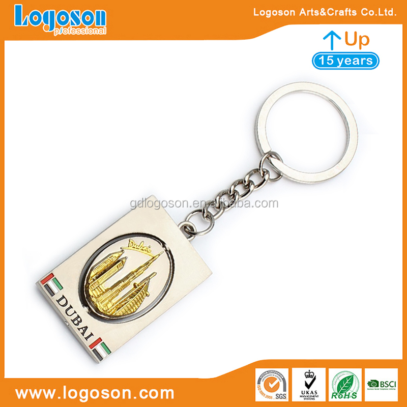 Wholesale Dubai Keychain Souvenir Gold Plated Keychains Burj Dubai Tower Palm Pendant Charm Key Chain