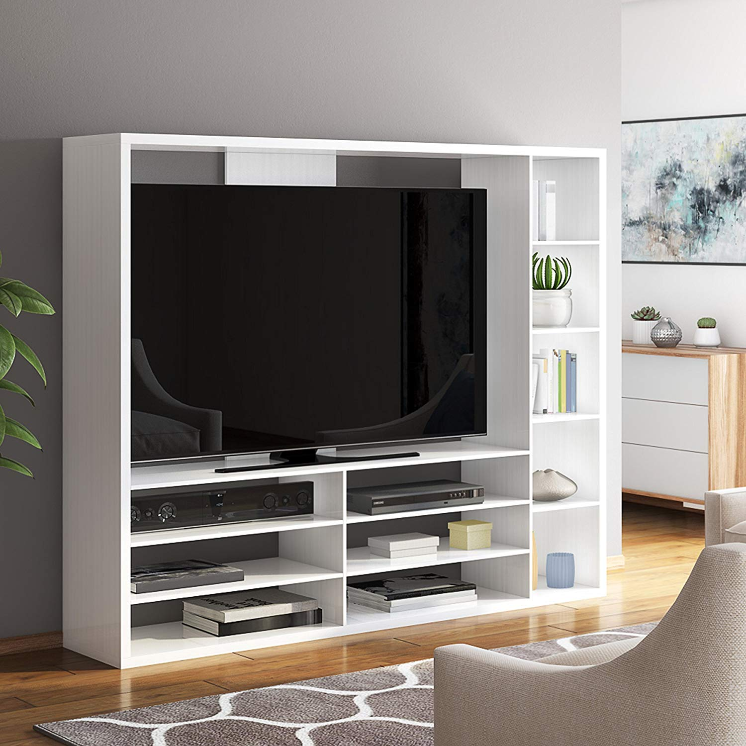 Great TV Stand With Clean Lines, Sleek Design, Modern Look, Large Open Shelf & Six Lower Shelves, Plenty Of Space, Sturdy Construction, Supportive Back Panel, Wood Material, White Finish