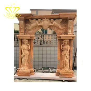 Natural white beautiful hand-carved stone craft New product marble roman door frame sale
