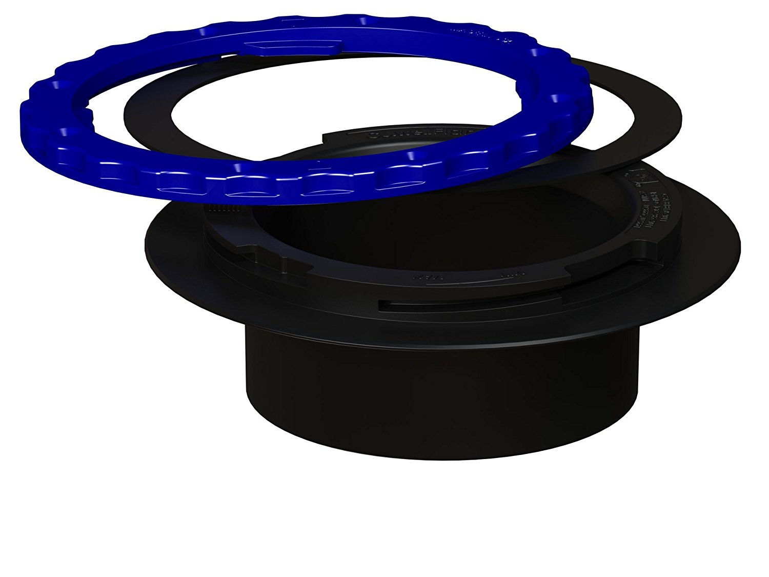 Culwell A4 Premium Property Saving Toilet Flange with ABS Surface Seal Glue-in and Black/Blue Ring, 4-Inch