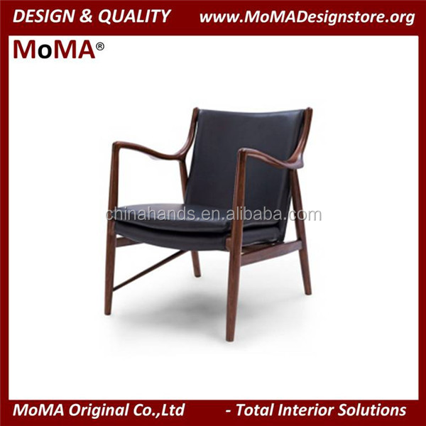 MA-MD134 Classic Wood Frame Leather Lounge Chair