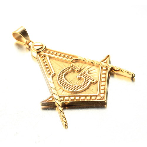 hot sale fashion stainless steel 18kgp masonic pendant jewelry simple masonic pendant necklace