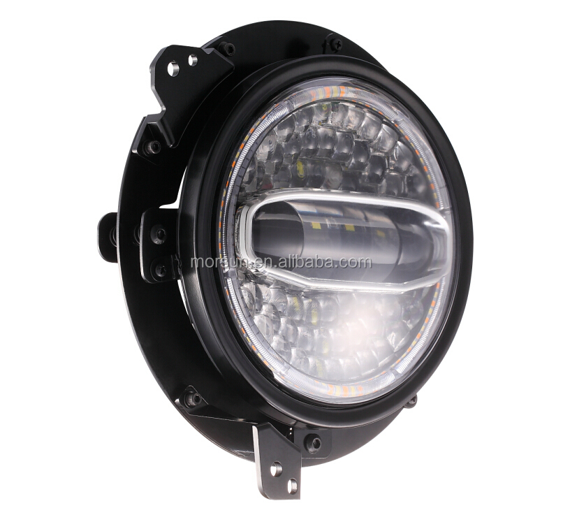 """Dot E-Mark 7 """"Bulat LED Headlight untuk JEEP Wrangler Lampu LED 7 Inch Putaran LED Lampu Jk TJ 12 V 24 V dengan Halo DRL"""