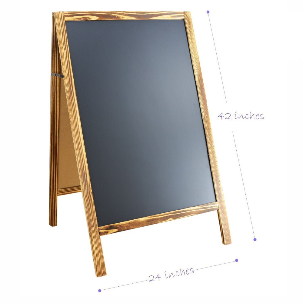 Magnetic Chalkboard A Frame for Outdoor Double Sided Hand-Torched Natural Wooden