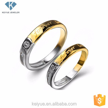 Gold Silver Custom Engraved Couple Rings Sets With Letter Design For