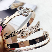 Fashion Stylish Jewelry Charm Stainless Steel Bracelet Ladies Bangle