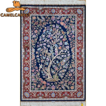 Dark Blue Small Rug Persian Wall Handmade Silk Tree Of Life Rug