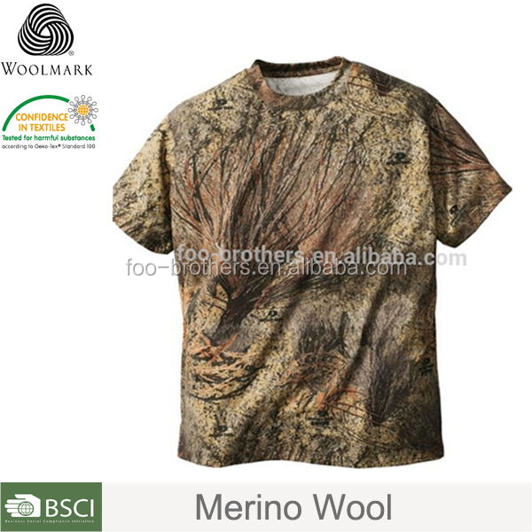 Hunting clothing for camping and fishing ,merino wool t shirt camouflage