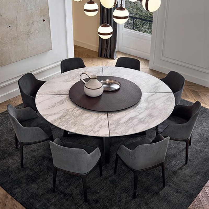 Contemporary Style Marble Top Round Dining Table with Solid Wooden Frame ,Factory Online Selling Dining Room Furniture