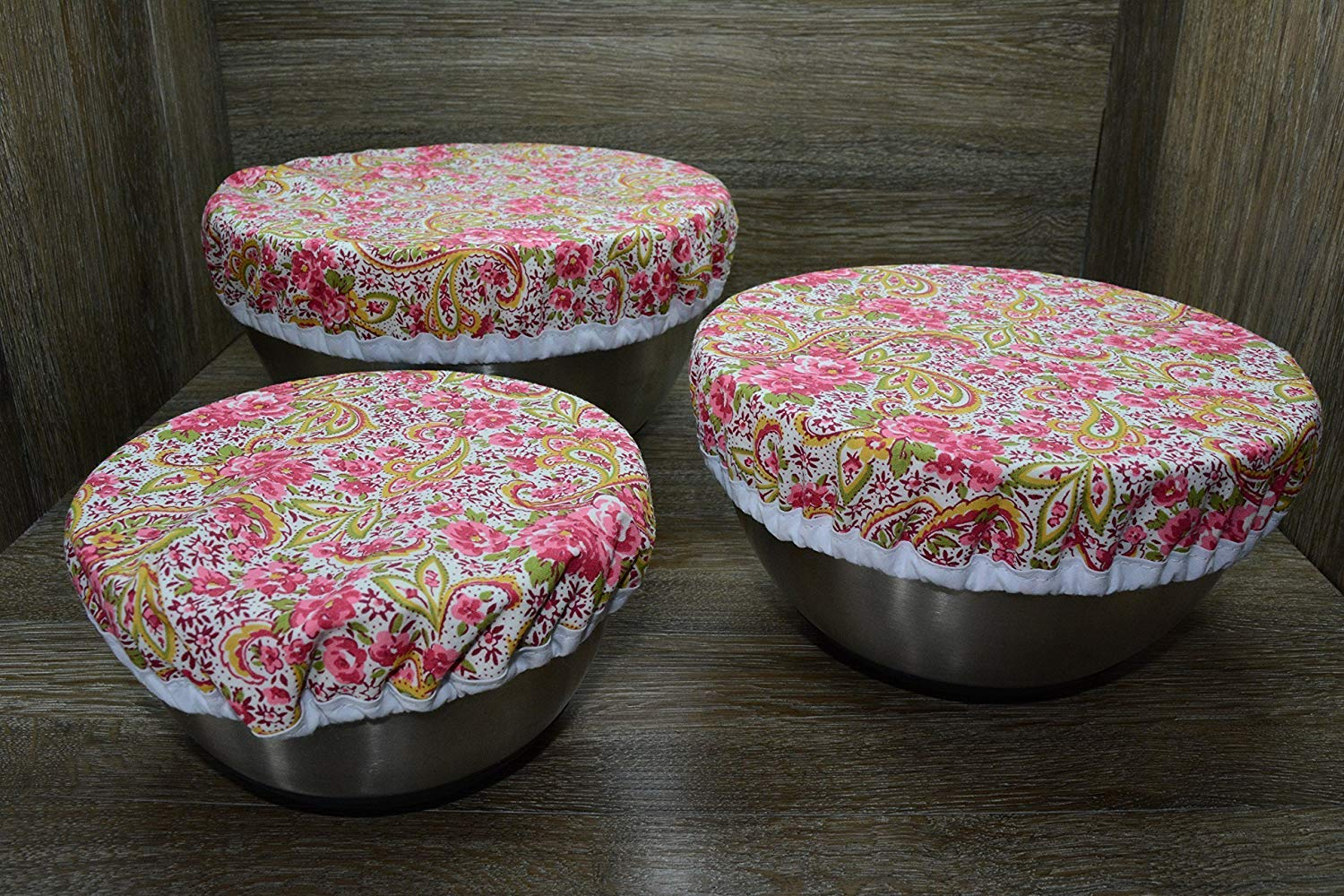 Eco-Friendly//Reusable//Bowl Covers//Set of 3//Spring Bouquet