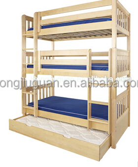 Wooden Separable Triple Bunk Bed With Trundle For Kids Buy