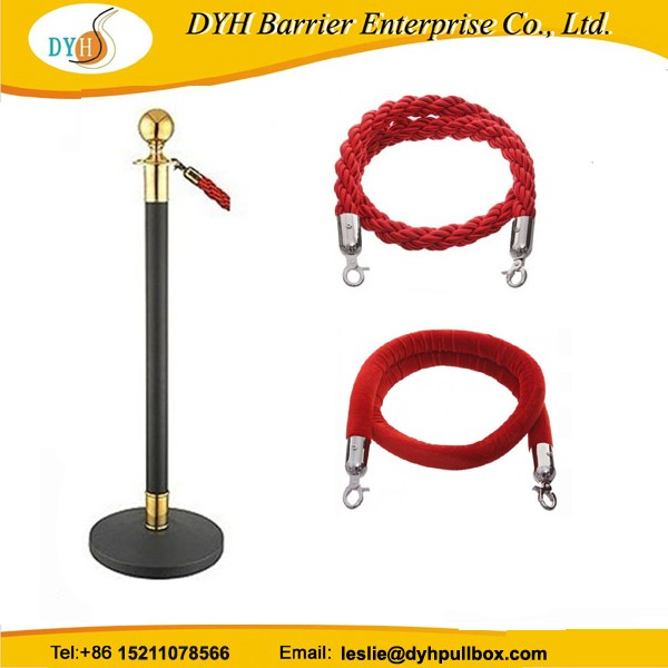 Gold stainless steel round top queue pole rope barrier/rope stanchion