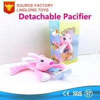 Shenzhen Custom Wubbanub Pacifier Animal Rabbit Plush Teeth Pacifier Pink Rabbit Bunny Stuffed Pacifier Holder