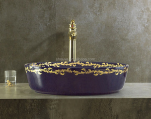 New design bathroom electroplate wash basin ancient blue golden phoenix tail ceramic basin