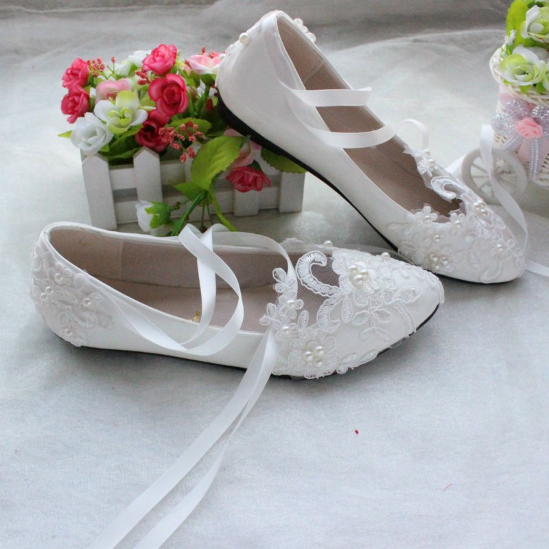 3f2f74b5e High Quality White/Red Lace Pearls Women Wedding Shoes With Ribbons Lace Up  Ladies Party/Dress Shoes Pointed Toes Size EU34-40