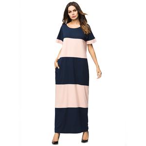 2596e91fb14 Hot selling dubai women striped pink muslim maxi summer dress thailand