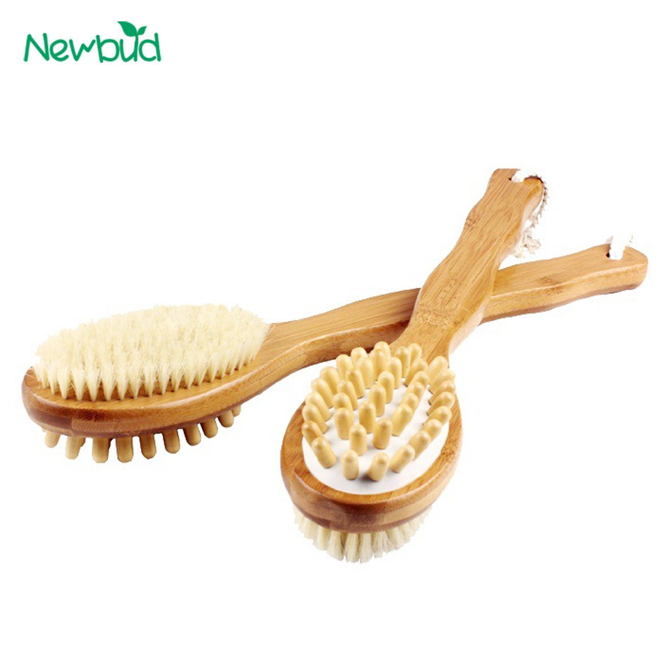 Double Sided Natural Bristles Scrubber Long Handle Wooden Spa Shower Brush Body Bath Shower Brush Massage Brushes - Burlywood