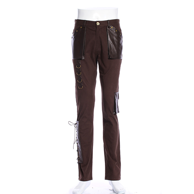 Gothic men Punk Style Long Pant Pu leather Pockets New Type Trousers