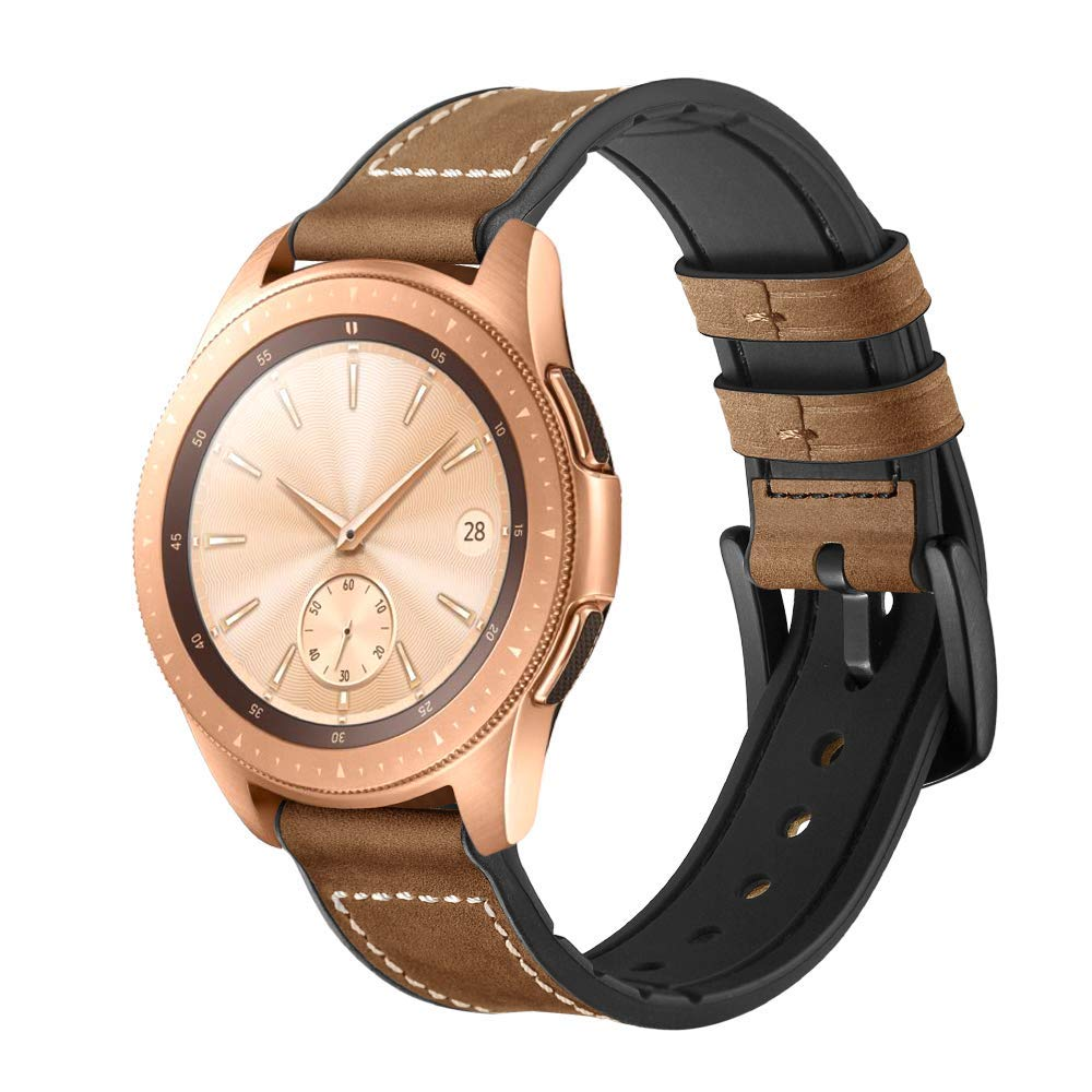 Watch Band Compatible for Samsung Galaxy Watch, MoreToys Genuine Leather and TPU Replacement Accessory Wristband Watchband for Samsung Galaxy Watch (42MM, Coffee)