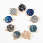 Small round titanium rainbow navy blue agate druzy geode gemstone connector from wholesale guangzhou fashion jewelry market