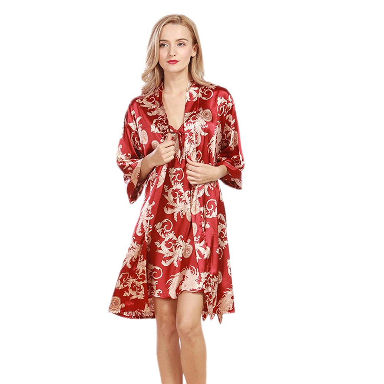 d101486d2e Get Quotations · flame of dream Sexy Womens Silk Nightie Nightgown Sleepwear  Robe Sexy Satin Nightgowns Bathrobe Women