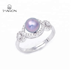Classical Crystal Jewelry Pearl 925 Sterling Silver CZ Rings Mounting for Women