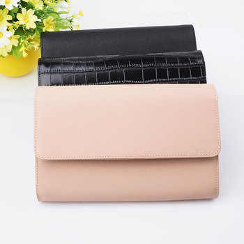 Black saffiano leather travel wallet clutch, luxury women leather clutch evening bag