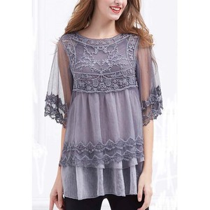 6b2a200fe Top Selling Fashion Long Lace Linen Tunic Chic Women Purple Floral Lace  Overlays Half Sleeve Tunics & Tank Top