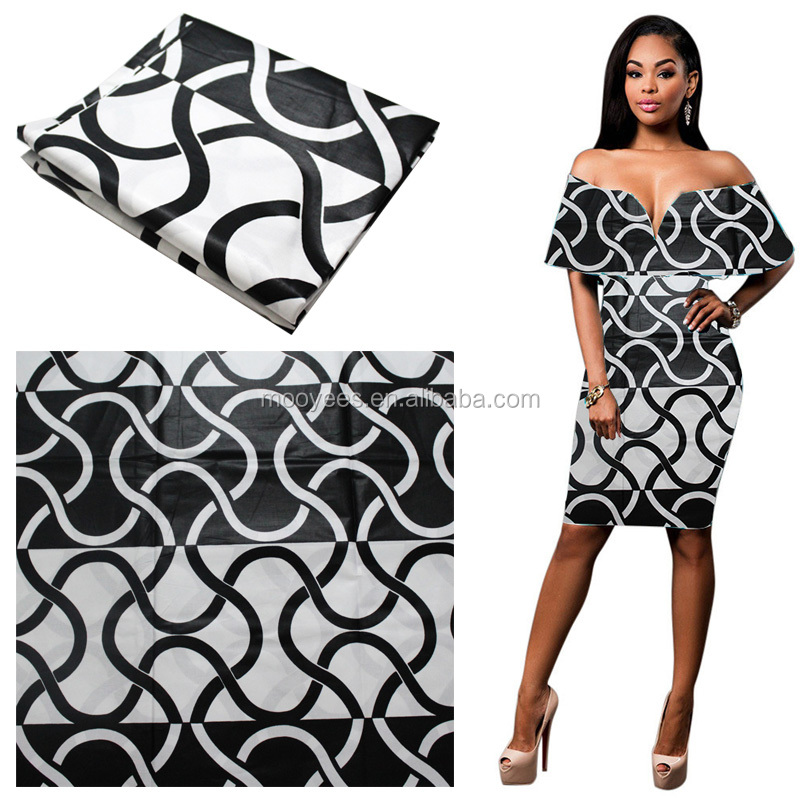 white and black ankara african wax print fabric 100% cotton guaranteed holland super design