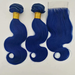 Brazilian human hair body wave blue hair weave blue hair bundle with lace closure fashion dark blue weave