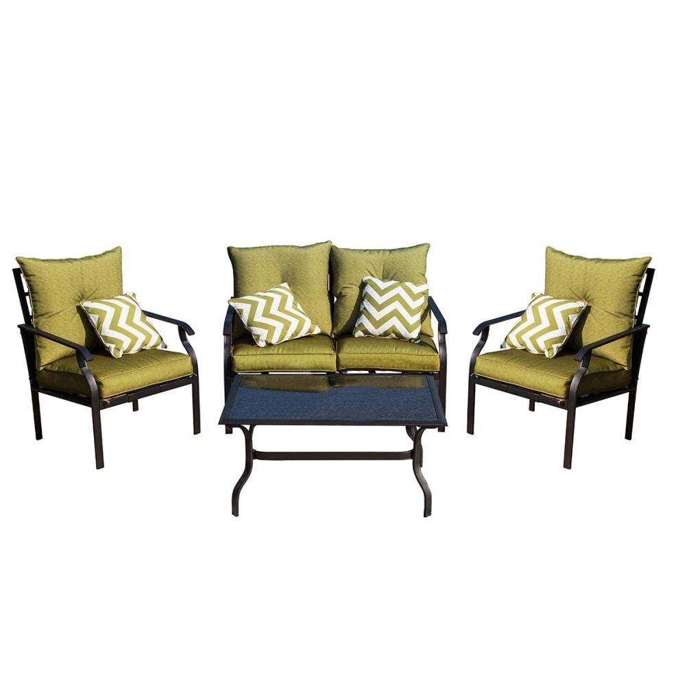 Get Quotations Tangon 4 Piece Outdoor Furniture Garden Patio Set Wrought Iron Coffee Table Loveseat