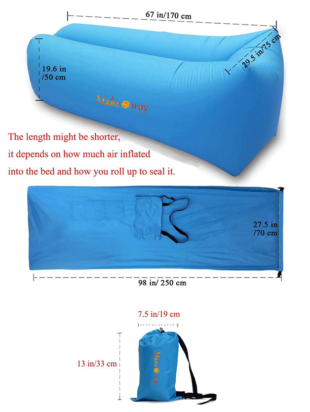 Hot New Summer Lightweight Inflatable air bag sofa 210T Ripstop Nylon camping Laybag For Summer lazy Air bag