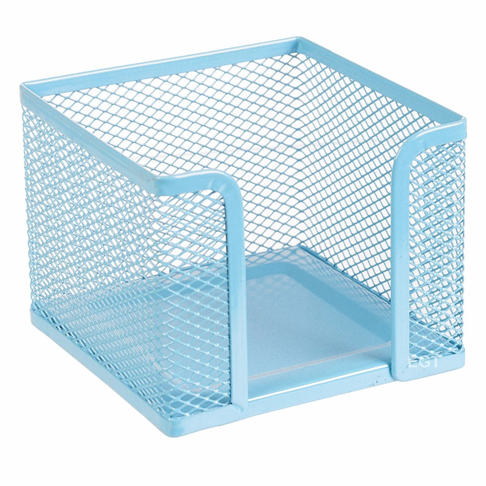 Groothandel Levering kleine size blauw kleur metal mesh bureau desktop vierkante kaart memo houder